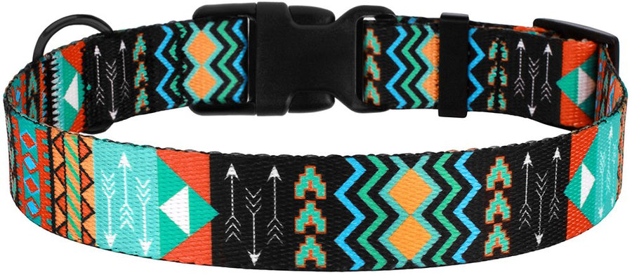 Dog Collar with Buckle Tribal Pattern