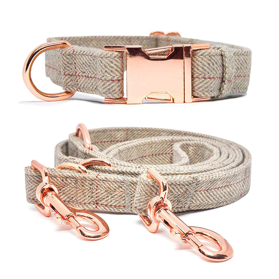 Dog Collar and Leash  Stylish Design with Rose Gold Set
