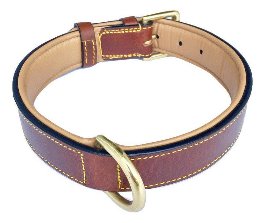 Soft Touch Collars Luxury Real Leather Padded Dog Collar