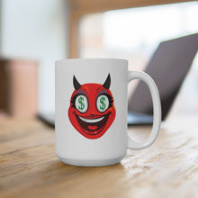 Load image into Gallery viewer, Female Dollar Sign Money Mouth Devil Emoji White Ceramic Mug by Badmoji Glassware & Drinkware Novelty Coffee Mugs
