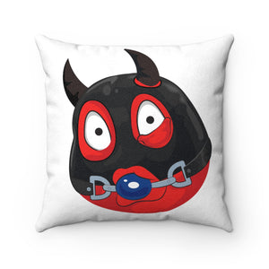 Male Ball Gag BDSM Kinky Dominatrix Devil Emoji Faux Suede Square Pillow by Bigbadmoji Home Décor Throw Pillows