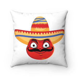 Male Cinco De Mayo Mexican Devil Emoji Faux Suede Square Pillow by Bigbadmoji Home Décor Throw Pillows