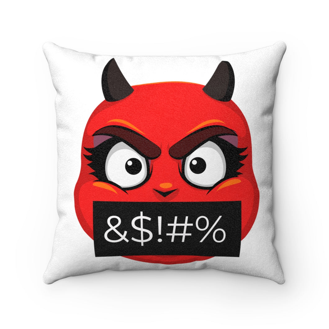 Female Angry Cursing Devil Emoji Faux Suede Square Pillow by Bigbadmoji Home Décor Throw Pillows