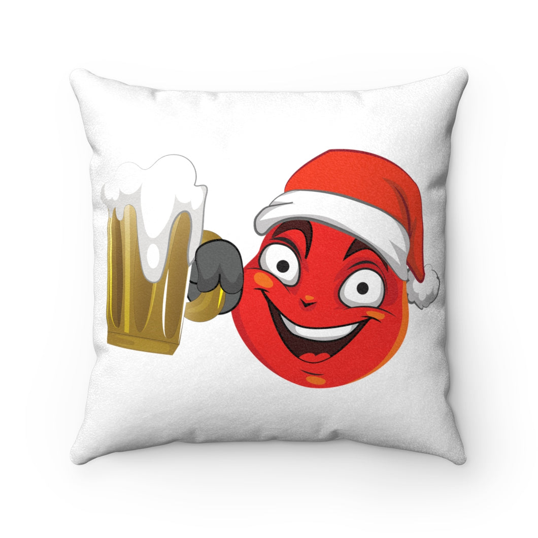 Male Christmas Beer Emoji Faux Suede Square Pillow by Badmoji Home Décor Throw Pillows