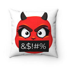 Load image into Gallery viewer, Female Angry Cursing Devil Emoji Faux Suede Square Pillow by Bigbadmoji Home Décor Throw Pillows