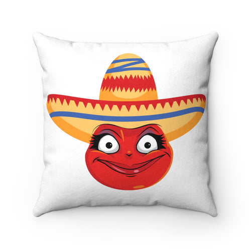 Female Cinco De Mayo Mexican Emoji Faux Suede Square Pillow by Bigbadmoji Home Décor Throw Pillows