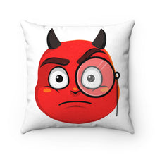Load image into Gallery viewer, Male Monocle Devil Emoji Faux Suede Square Pillow by Bigbadmoji - Home Décor - Throw Pillows