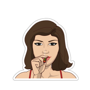 Bigbadmoji character smoking a joint Kiss-Cut Stickers