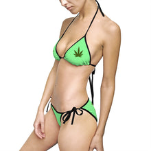 "Load image into Gallery viewer, ""Hot girls smoke pot"" - Women's Bikini Swimsuit (Green)"