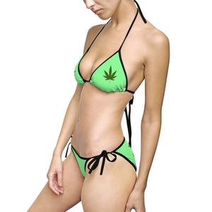 """Hot girls smoke pot"" - Women's Bikini Swimsuit (Green)"