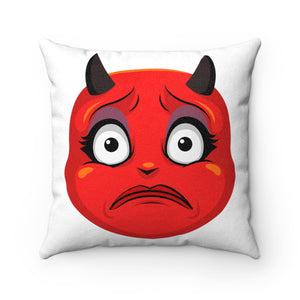 Female Concerned Worried Devil Emoji Faux Suede Square Pillow by Bigbadmoji Home Décor Throw Pillows