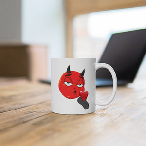 Male Blowing Kiss Devil Emoji White Ceramic Mug by Badmoji Glassware & Drinkware Novelty Coffee Mugs