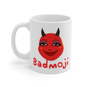Female Content and Relieved Devil Emoji White Ceramic Mug by Bigbadmoji Glassware & Drinkware Novelty Coffee Mugs