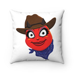 Female Country Cowgirl Hat Devil Emoji Faux Suede Square Pillow by Badmoji Home Décor Throw Pillows