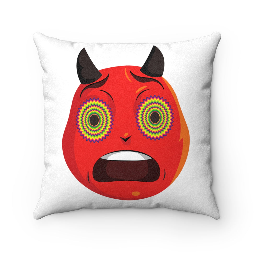 Male Trippy Devil Emoji Faux Suede Square Pillow by Bigbadmoji - Home Décor - Throw Pillows