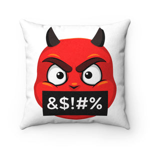 Male Angry Cursing Devil Emoji Faux Suede Square Pillow by Bigbadmoji Home Décor Throw Pillows