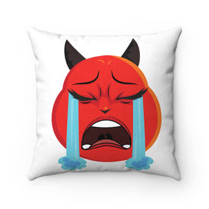 Female Crying Tears Devil Emoji Faux Suede Square Pillow by Badmoji Home Décor Throw Pillows