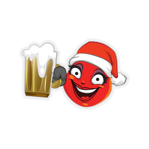 Female Christmas Beer Emoji Kiss-Cut Stickers by Bigbadmoji Laptop Skins & Decals