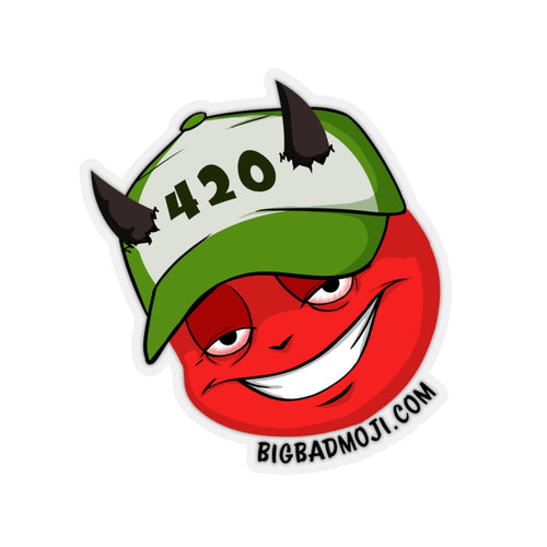 Male 420 Hat Devil Emoji White Kiss-Cut Stickers by Bigbadmoji - Laptop Skins & Decals