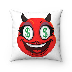 Female Dollar Sign Money Mouth Devil Emoji Faux Suede Square Pillow by Badmoji Home Décor Throw Pillows
