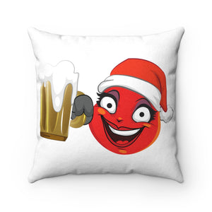 Female Christmas Beer Emoji Faux Suede Square Pillow by Bigbadmoji Home Décor Throw Pillows