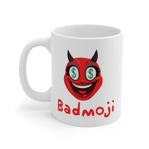 Female Dollar Sign Money Mouth Devil Emoji White Ceramic Mug by Badmoji Glassware & Drinkware Novelty Coffee Mugs