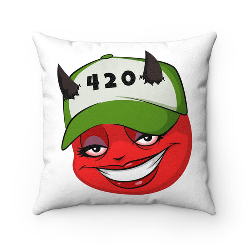 Female 420 Hat Devil Emoji Faux Suede Square Pillow by Bigbadmoji - Home Décor  - Throw Pillows