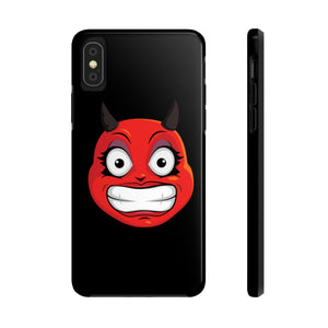 Female Cringing Devil Emoji Case Mate Tough Phone Cases by Badmoji Cell Phones & Accessories Cases