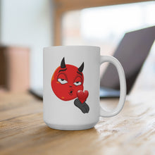 Load image into Gallery viewer, Male Blowing Kiss Devil Emoji White Ceramic Mug by Badmoji Glassware & Drinkware Novelty Coffee Mugs