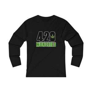 """420 Munchies"" Women's Fitted Long Sleeve Tee"