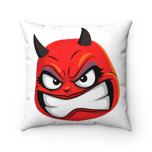 Female Angry Devil Emoji Faux Suede Square Pillow by Badmoji Home Décor Throw Pillows