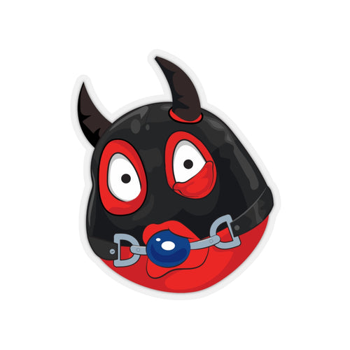 Male Ball Gag BDSM Kinky Dominatrix Devil Emoji Kiss-Cut Stickers by Bigbadmoji Laptop Stickers and Decals