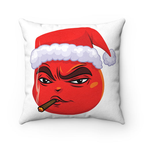 Male Christmas 420 Smoking Devil Emoji Faux Suede Square Pillow by Badmoji Home Décor Throw Pillows