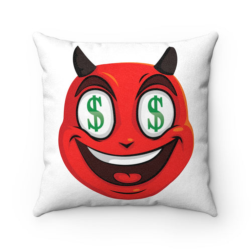 Male Dollar Sign Money Mouth Devil Emoji Faux Suede Square Pillow by Badmoji Home Décor Throw Pillows