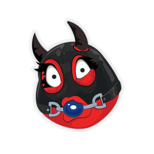 Female Ball Gag BDSM Kinky Dominatrix Devil Emoji Kiss-Cut Stickers by Bigbadmoji Laptop Stickers and Decals
