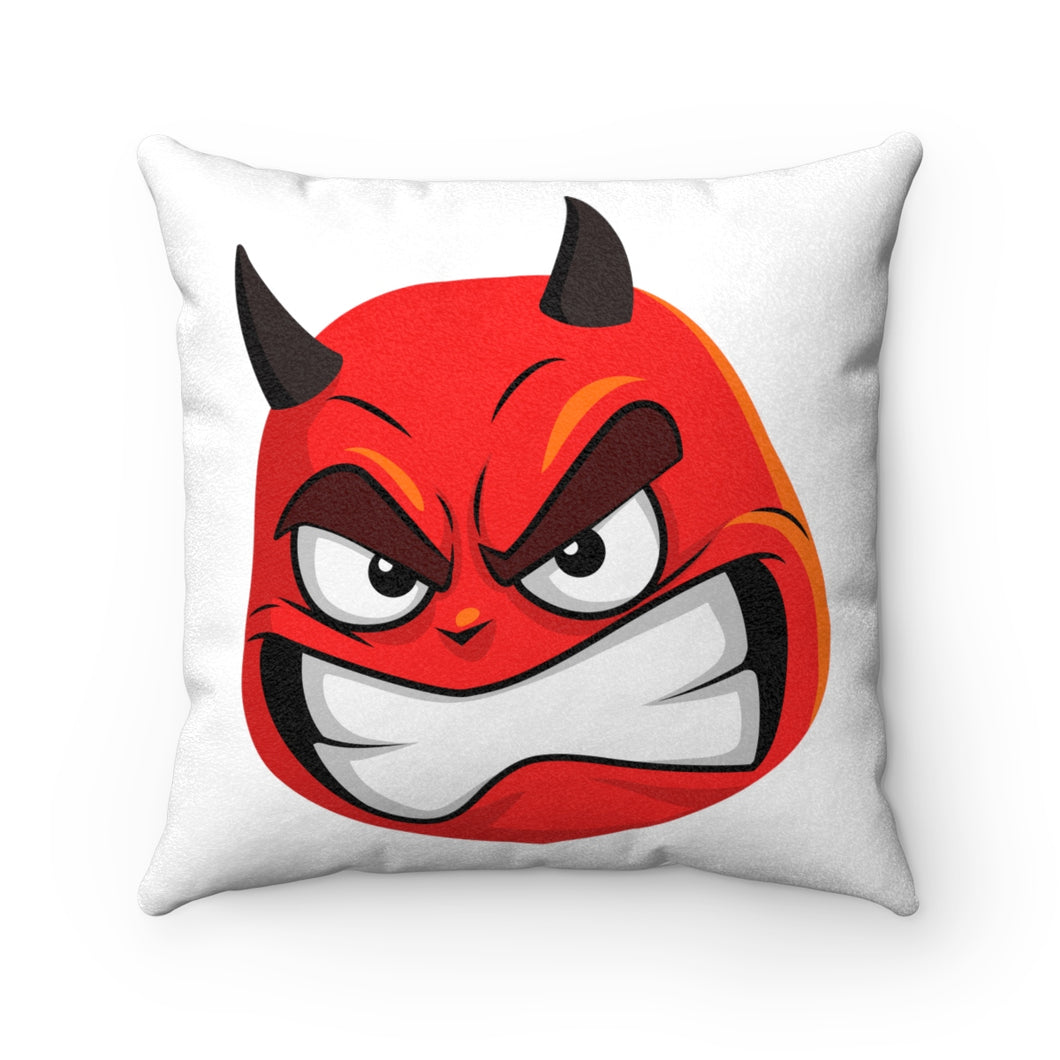 Male Angry Devil Emoji Faux Suede Square Pillow by Bigbadmoji Home Décor Throw Pillows
