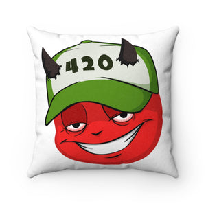 Male 420 Hat Devil Emoji Faux Suede Square Pillow by Bigbadmoji Home Décor Throw Pillows