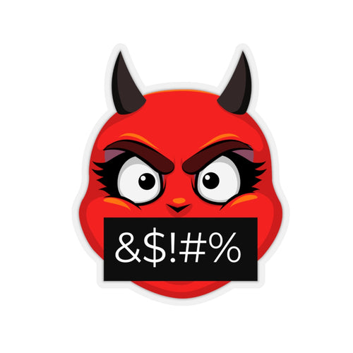 Female Angry Cursing Devil Emoji Kiss-Cut Stickers by Bigbadmoji Laptop Skins & Decals