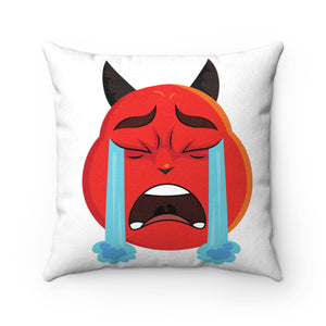 Male Crying Tears Devil Emoji Faux Suede Square Pillow by Badmoji Home Décor Throw Pillows