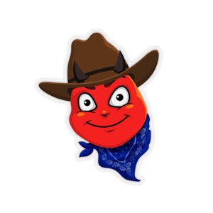 Male Country Cowboy Hat Devil Emoji Kiss-Cut Stickers by Badmoji Laptop Skins & Decals