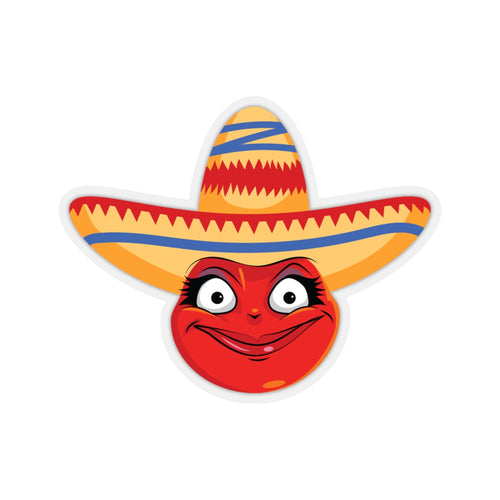 Female Cinco De Mayo Mexican Emoji Kiss-Cut Stickers by Bigbadmoji Laptop Skins & Decals