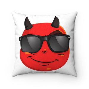 Male Cool Sunglass Devil Emoji Faux Suede Square Pillow by Badmoji Home Décor Throw Pillows