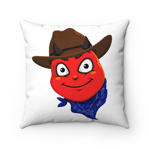 Male Country Cowboy Hat Devil Emoji Faux Suede Square Pillow by Badmoji Home Décor Throw Pillows