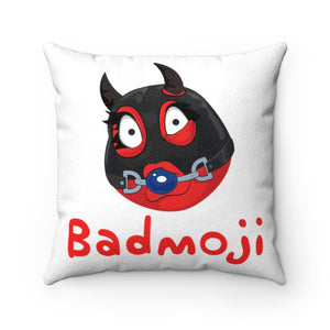 Female Ball Gag BDSM Kinky Dominatrix Devil Emoji Faux Suede Square Pillow by Bigbadmoji Home Décor Throw Pillows