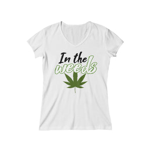 """In the weeds"" Women's Baby Rib Short Sleeve V-Neck Tee"