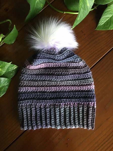 Purple Punch Handmade Crocheted Beanie with Faux Fur Pom