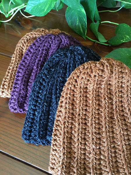 Basic Crocheted Beanie-Double Stranded-Adult Hat