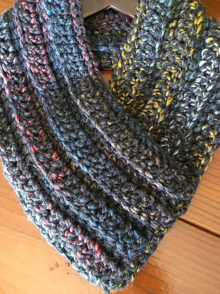 Black Heart Crocheted Cowl Scarf