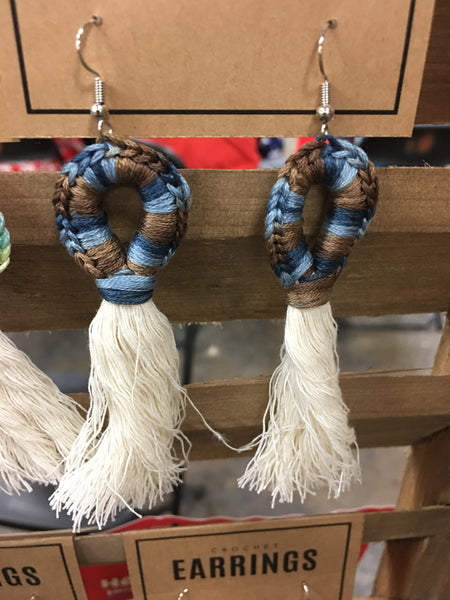 Blue and brown blend Crocheted Loop Earrings