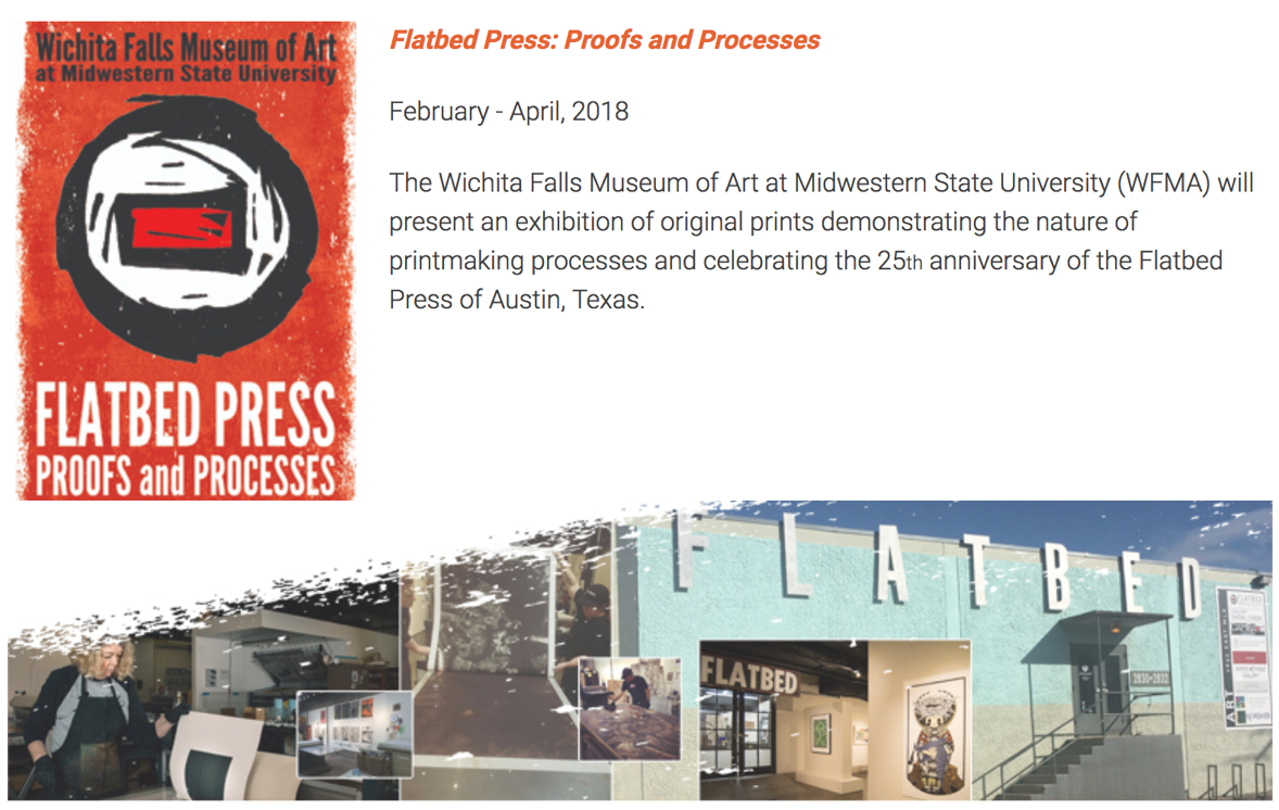 New Exhibition: Flatbed Press Proofs and Processes at Wichita Falls Museum of Art